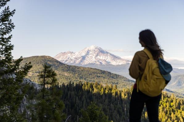 Hiker overlooking Mt. Shasta.