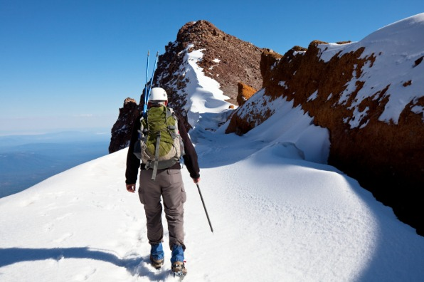 Mountain climbing Mt. Shasta.